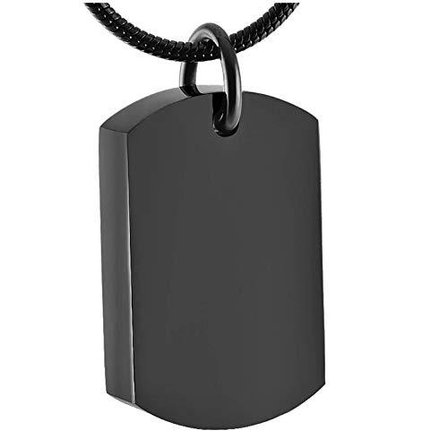 Wxcvz Collar para Cenizas Grabado Gratis Negro Etiqueta De Perro Joyería De Cremación Urna Colgante De Acero Inoxidable Ashe Urn Collar Colar Macho para Cenizas