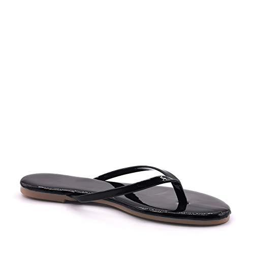 Angkorly - Chaussure Mode Tong Nu-Pieds de Plage Plat Hippie Femme Verni Brillant Fluo Talon Bloc 1 CM - Noir - AM-65 T 38