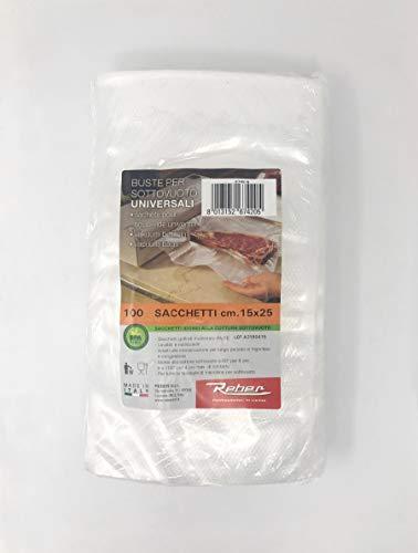 Reber Busta 100 Sacchi sottovuoto 15x25 Contenitori Cucina barattoli