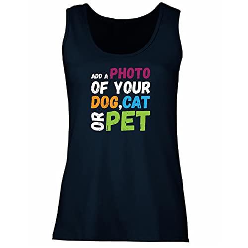 lepni.me Camisetas sin Mangas para Mujer Diseño Divertido y Personalizado de su Perro, Gato o Mascota para los Amantes de los Animales (S Azul Multicolor)