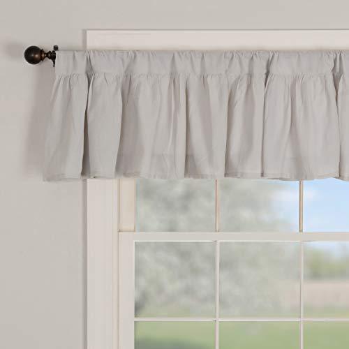"Piper Classics Annabelle Gray Ruffled Valance Curtain, 72"" x 16"", Light Gray, Semi-Sheer, Vintage Farmhouse Chic Style Curtain"