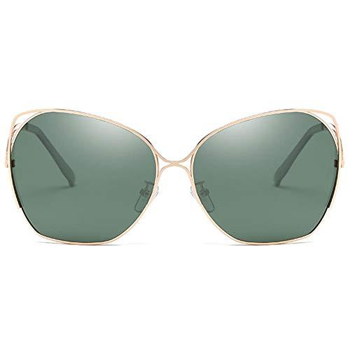 WHSS Gafas de sol Nuevo Clásico Moda Metal Material Colorido UV400 Gafas de sol Verde/Rosa Lente Oro Marco Modelos Femeninos Polarizados Gafas de sol (Color: Verde)