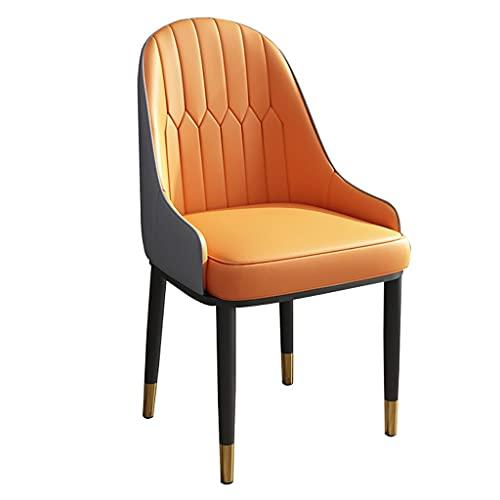 ADGEAAB Sillas de cocina, comedor, de piel, con respaldo alto, suave, silla de salón, con patas de metal, para oficina, salón, comedor, cocina, dormitorio, (color naranja+gris)
