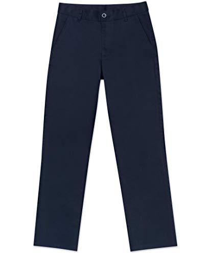 Nautica Big Boys' Uniform Flat Front Pant, Navy, Large/16
