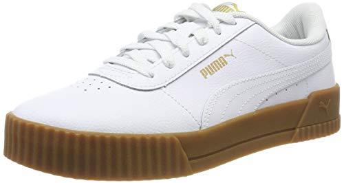 Puma Carina, Zapatillas de Cuero para Mujer, White White-Gum, 39 EU