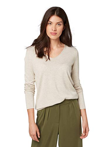 TOM TAILOR Damen Pullover & Strickjacken Pullover mit V-Ausschnitt Cloud Grey Melange,XL