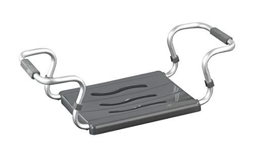WENKO Badewannensitz Secura Silber - ausziehbar, 120 kg Tragkraft, Aluminium, 55-65 x 18 x 26 cm, Silber