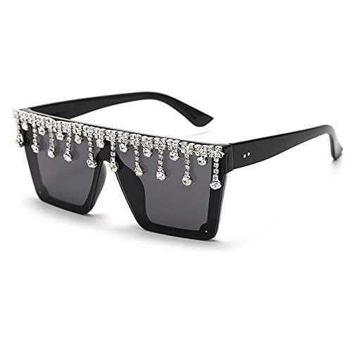 DGSDFGAH Gafas De Sol Mujer Gafas De Sol Polarizadas para Hombres/Mujeres Retro Moda Unisex Gafas De Sol Extragrandes De Diamantes De Imitación Negros De Una Pieza para Hombre