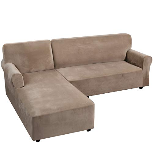 H.VERSAILTEX Thick Velvet Stretch L Shaped Sofa Cover 3-Seat Sofa Sectional Couch Cover 2 Piece Sofa Cover Plus Left Chaise Cover with Non Slip Straps, Soft, Comfy and Bouncy, Taupe