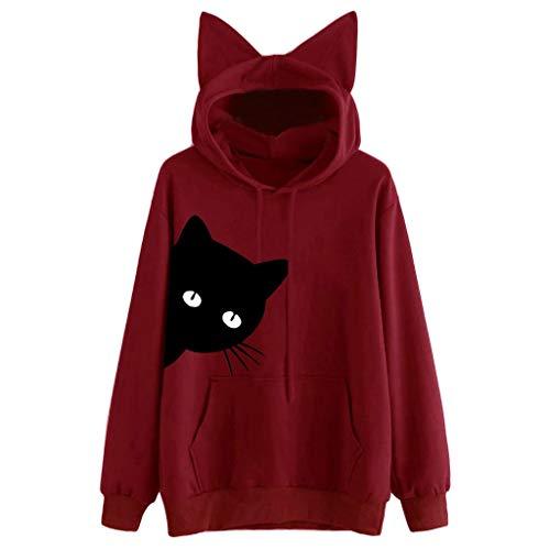 Sillor Kapuzenpullover mit Katzenohren Hut Damen Mädchen Katzenabdruck Langarm Hoodie Freizeit Loose Einfarbig Herbst Winter Sweatshirt T-Shirt Tops Jumper Pullover