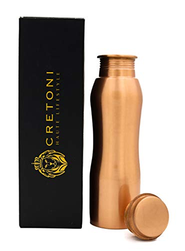 Cretoni Copperlin Classic-Series Pure Copper Water Bottle : Original Curved Style : Perfect Ayurvedic Copper Vessel for Sports, Fitness, Yoga, Natural Health Benefits (850 Milliliter/28 Ounce)