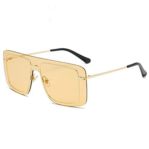 LQG Gafas de Color de Gran tamaño Gafas de Sol integradas Hipster Conjuntos de Sol conjuntamente Marco Cuadrado Gafas de Sol Moda de Personalidad,Amarillo