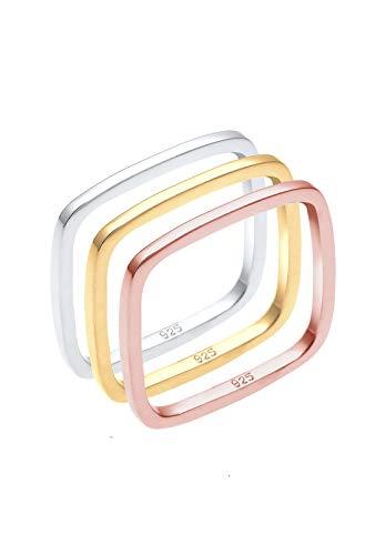 Elli Ring Tri-Color Statement Vierecks-Ringset 925er Silber