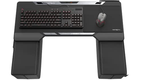 Couchmaster CYCON² Titan Edition, Couch Gaming Desk for Mouse & Keyboard (for PC, PS4 5, Xbox One Series X), Ergonomic lapdesk for Couch & Bed, Nappa Leather, Real Titanium