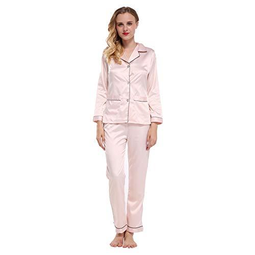 LEYUANA Conjuntos de Pijamas de Dos Piezas, Conjunto de Pijamas de satén para Mujer con Bolsillos Ropa para el hogar L pinkset