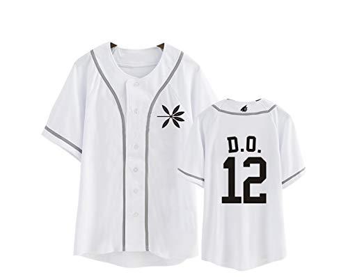 KPOP Exo Camisetas de Sudadera Verano Top Camiseta Botón Béisbol Jersey Manga Corta...