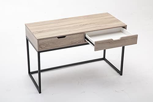 Escritorio para ordenador portátil con 2 cajones, tablero de madera natural y soporte de estructura de acero inoxidable, estructura de madera