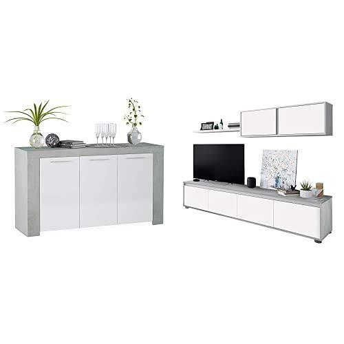 Habitdesign Aparador, Buffet Moderno, Armario Auxiliar Comedor, Modelo Ambit, Color Blanco Artik y Gris Cemento + 016663L Mueble de salón Moderno