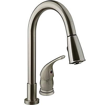 Dura Faucet DF-NMK503-SN RV Pull-Down Kitchen Sink Faucet with Side Lever (Brushed Satin Nickel) by Dura Faucet