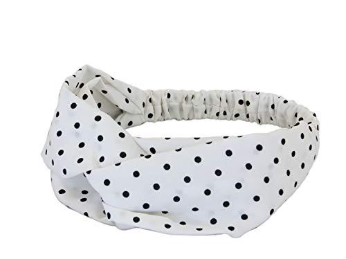 irisaa Damen Stirnband Kopfband Haarband mit Punkten Muster und Twist Knoten, Schweißband Für Fahrad, Fitness, Laufen und Yoga für Zuhause Urlaub, Damen Tasche:Weiß