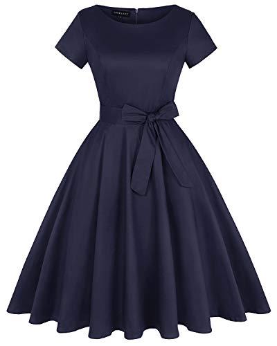MINTLIMIT Damen Vintage 50er Rundhals Abendkleid Rockabilly Retro Kleider Hepburn Stil Cocktailkleid(Einfarbig Navy,Größe XL)