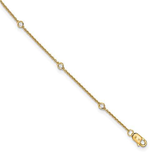 14K Yellow Goldy True Origin Lab Grown Diamond VS/SI D,E,F Rolo Anklet