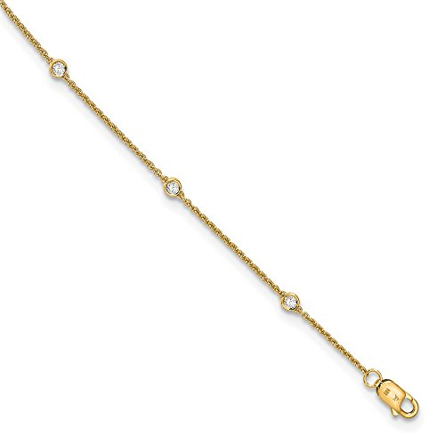14K Yellow Goldy True Origin Lab Grown Diamond VS/SI D,E,F Rolo Anklet