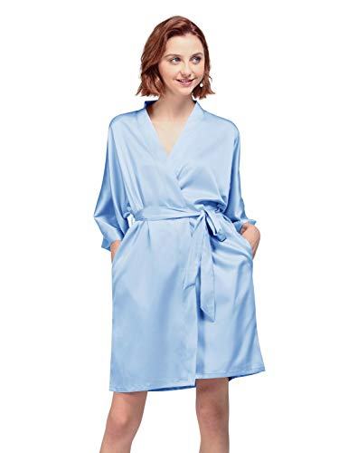 AW BRIDAL Silky Satin Robes Short Kimono Bathrobe Dressing Gown for Brides Bridesmaids Wedding Party, Light Sky Blue, M