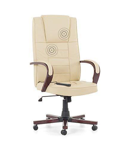 """Leder Chefsessel Massagesessel Bürostuhl Drehstuhl\""""San Diego\"""" mit Massage Farbe beige/creme weiss, Fußkreuz und Armlehnen aus Holz Bürosessel günstig"""