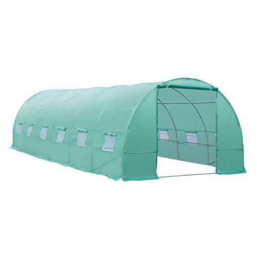 Outsunny 26' x 10' x 6.6' Outdoor Walk-in Tunnel Greenhouse with Roll-up Windows, Zippered Windows,...