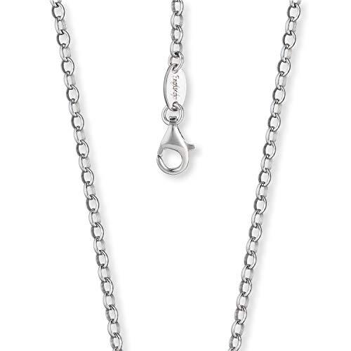 Engelsrufer - silberne Damen Halskette, Ankerkette ohne Anhänger aus 925 Sterling Silber, zierliche Frauen Schmuck Silberkette, filigrane Damenkette mit Karabinerverschluss