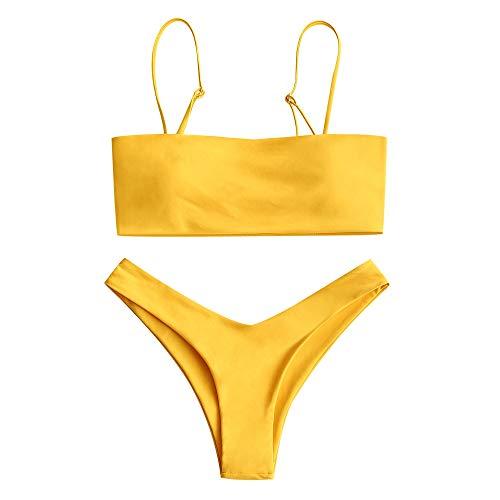 Zaful - Bikini de tirante fino y corte alto para mujer amarillo M