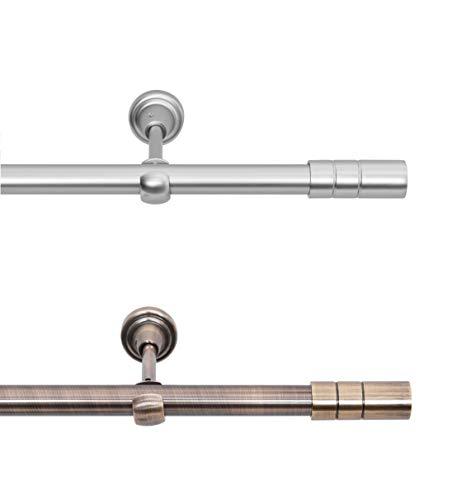Rollmayer elegant und modern Chrom Matt Vorhangstange / Gardinenstange aus metall Ø 19mm (320cm Tosca, im Silber, 1-läufig) verschiedene Größen und Endstücken Ohne Ringe!