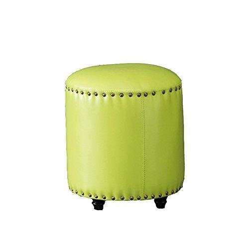 Tabouret de canapé de style européen, bois massif pour tabouret de chaussure, portant un tabouret de chaussure, petit tabouret, tabouret en cuir artificiel, jetée ronde, repose-pieds de salon ( Couleur : Vert )