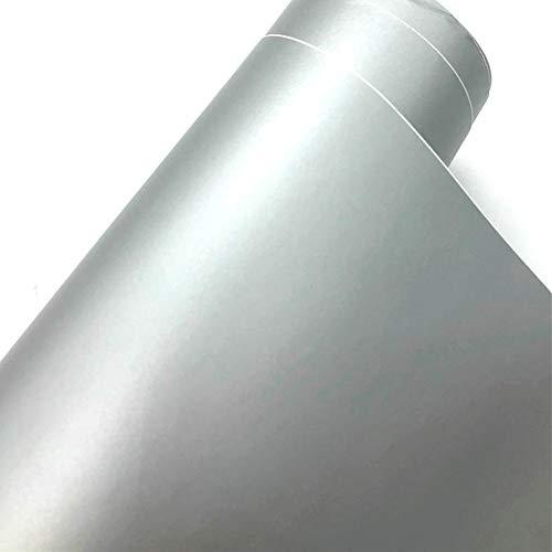 TRIXES Matte Vinyl Klebefolie fürs Auto - 1500 x 300 mm - Silber - für innen und außen - Glatteffekt