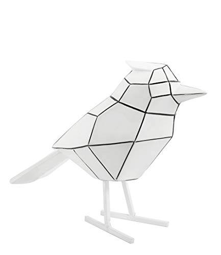 Present Time - Statue Oiseau Blanc Rayures Noires Large Origami