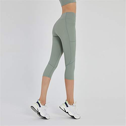 delle Donne Pantaloni A Vita Alta Yoga con Tasche, Estate Pancia Controllo Stretch Esecuzione Fuseaux, Capri Tagliate Shorts,Verde,L