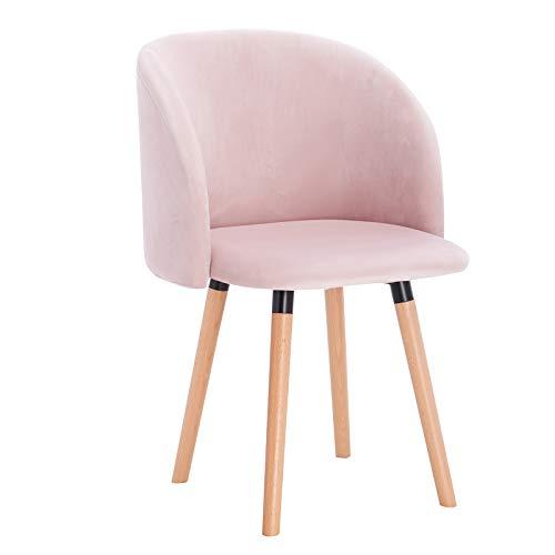 WOLTU Esszimmerstühle BH121rs-1 1x Küchenstuhl Wohnzimmerstuhl Polsterstuhl Design Stuhl mit Armlehne, Sitzfläche aus Samt, Gestell aus Massivholz, Rosa