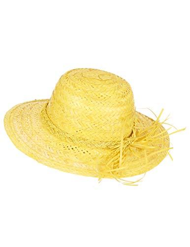 DEGUISE TOI - Chapeau de Paille Vintage Jaune Femme - Taille Unique