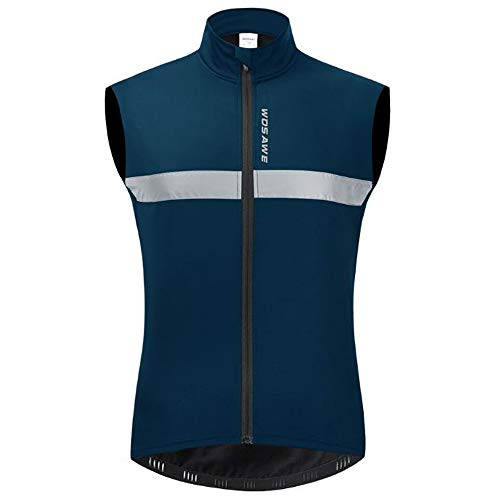 Men Sleeveless Thermal Fleece Cycling Vest Reflective Windproof Warm Running Outdoor Jacket Gilet (Blue, XL)