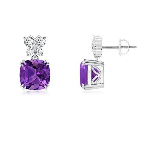 Amatista pendientes colgantes para mujeres con diamantes Mariposa motivos