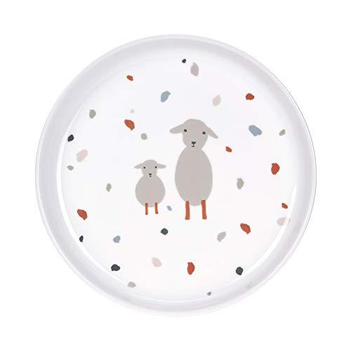 LÄSSIG Teller Porzellan Kinderteller mit Silikonring rutschfest Kindergeschirr/Tiny Farmer Sheep/Goose