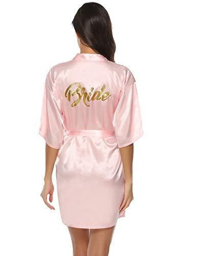 Aibrou Damen Kimono Morgenmantel Kurz Satin Robe Bademantel Nachtwäsche Sleepwear V Ausschnitt mit Gürtel für Party Hochzeit Braut Rosa XXL