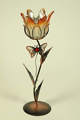 CAPRILO. Figura Decorativa Sobremesa de Forja Portavelas Tulipán Naranja. Candelabros. Adornos y Esculturas. Iluminación. Regalos Originales. Decoración Hogar. 33 x 11 x 10 cm. IB 9