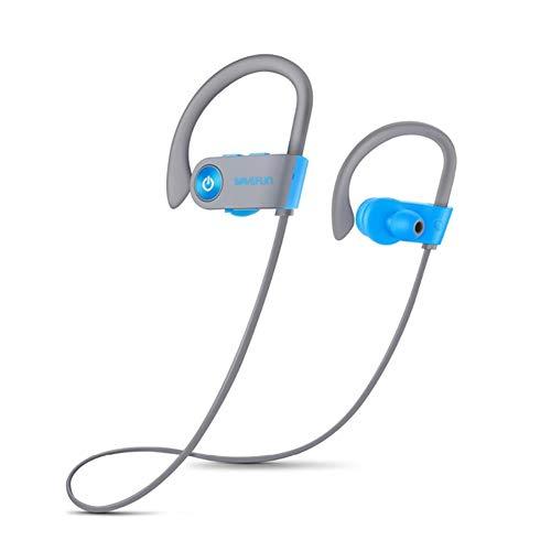 Wj Auriculares Bluetooth IPX7 a Prueba de Agua, inalámbricos Auriculares Deportivos HiFi Super Bass HD Estéreo A Prueba de Sudor Cancelación de Ruido Auriculares con micrófono