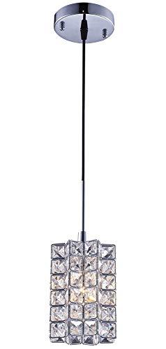 SHUPREGU 1-Light Pendant Lighting, Crystal Mini Pendant Light fixtures,Chrome Finish Crystal Pendant lamp, for Kitchen Island, Dining Room, Cafe,Bar, LED Bulb Not Included