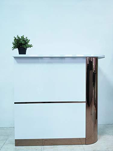 Mesa de Oficina Mostradores para Tiendas o Recepción Mueble Blanco con Brillo con Laterales Dorados (Derecha)