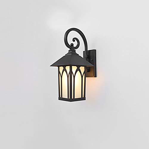 GUOGUOSM Lámpara de pared exterior, lámpara de pared externa, lámpara de pared, lámpara de porche, impermeable con vidrio de gamuza transparente, textura marrón oscuro para entrada, hogar, terraza, ga