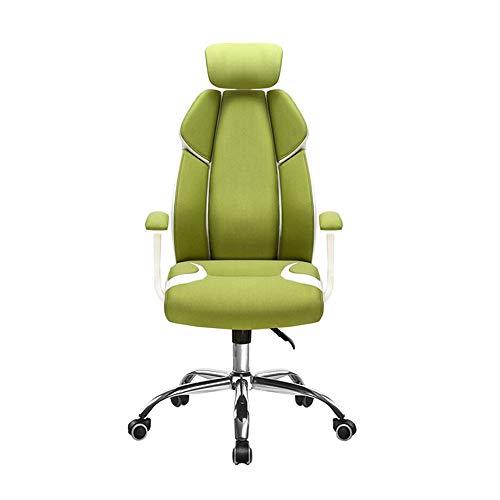 TXOZ-Q Silla de Oficina, Respaldo Alto ergonómico del Juego sillas de Escritorio for la computadora con Soporte Lumbar, giratoria Ajustable cómoda Silla con Ruedas (Color : Green)