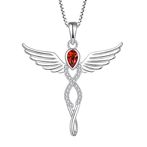 FJ Collar con colgante de ángel con forma de cruz y colgante de ángel de la guarda, plata de ley 925 con piedra natal y circonita cúbica, regalo para mujeres y niñas,